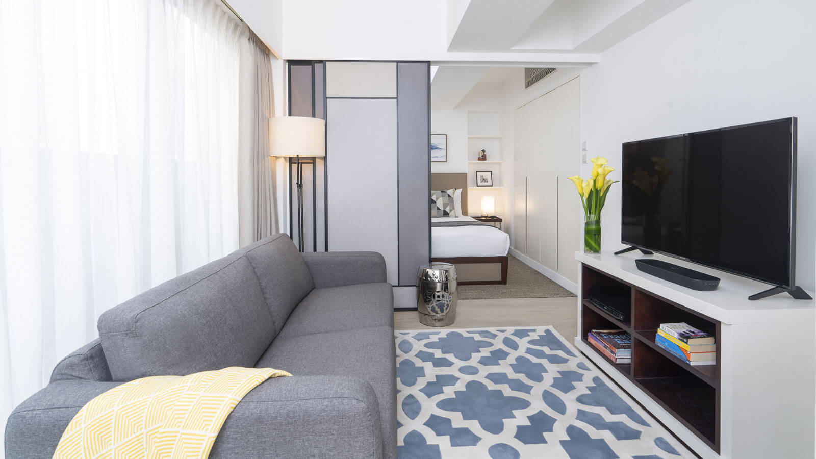 One Bedroom with Balcony - Living Room
